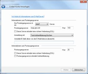 Windows Live Mail - Mail-Konto von Hand konfigurieren