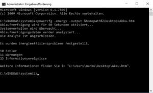 Akkudiagnose in Windows 7