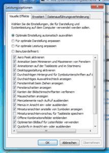Leistungsoptionen von Windows 7