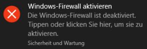 Meldung Firewall deaktiviert