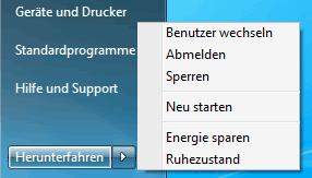 Abmelde-Dialog in Windows 7