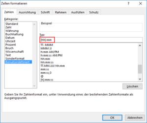 Excel Format für Zeiterfassung