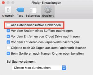 Dateiendungen anzeigen
