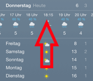 iPhone Wetter-App mit Tagesanzeige