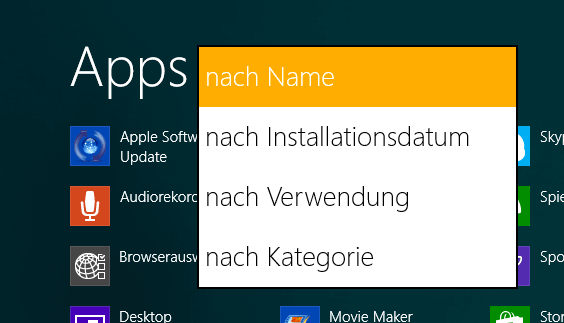 Sortierung der Apps