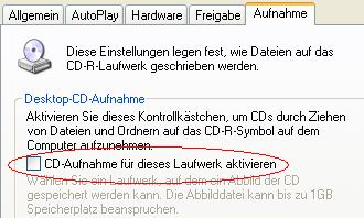 Windows XP: Eigenschaften des CD-Brenner-Laufwerks