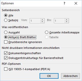 Excel spezielle Optionen PDF Speichern