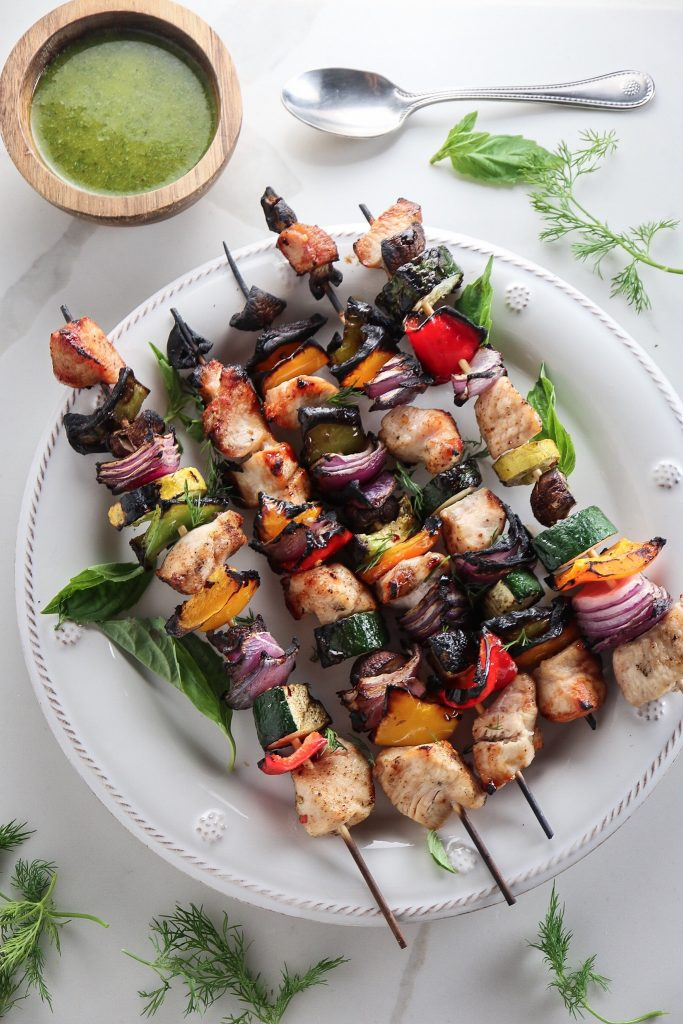 Grilled Chicken and Vegetable Skewers with Lemon Herb Sauce