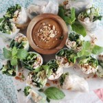 Chicken Kale Spring Rolls with Peanut Sauce