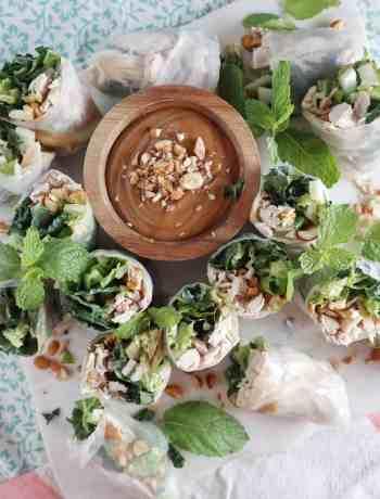 Rotisserie Chicken & Kale Spring Rolls with Peanut Sauce