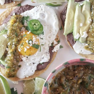 Fried Egg Tostadas with Tomatillo Salsa