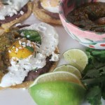Fried Egg Tostadas with Roasted Tomatillo Mango Salsa