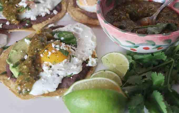 Fried Egg Tostadas with Roasted Tomatillo Mango Salsa