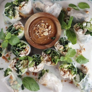Chicken and Kale Spring Rolls with Peanut Sauce