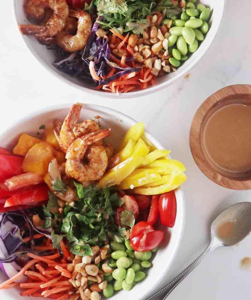 Spicy Shrimp Veggie Bowls with Peanut Vinaigrette