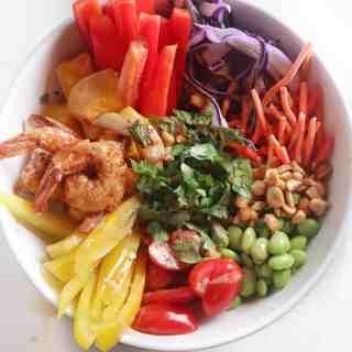 Spicy Shrimp Veggie Bowls with Peanut Sauce