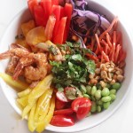 Spicy Shrimp Veggie Bowls with Peanut Vinaigrette