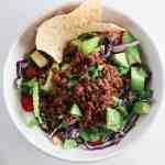 Beef Taco Salads with Cholula Lime Dressing