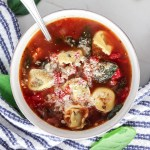 Spicy Italian Sausage and Spinach Tortellini Soup
