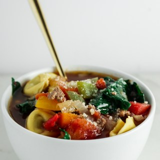 Beef and Pepper Cheesy Tortellini Soup