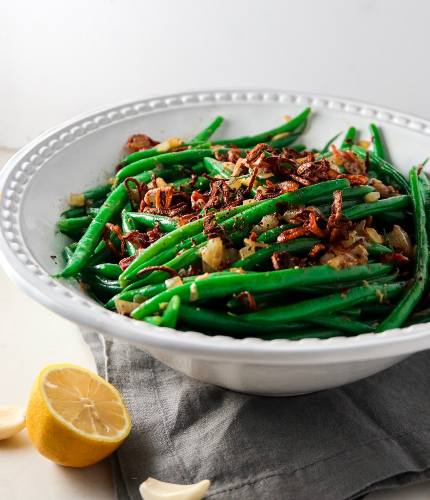 Haricots Verts with Bacon and Fried Shallots