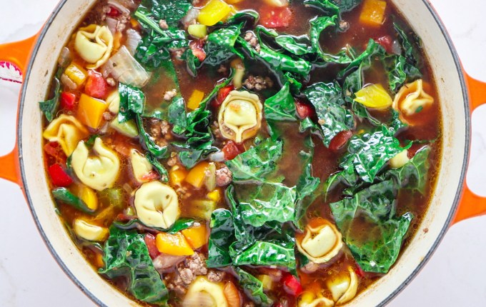 Italian Beef and Pepper Tortellini Soup