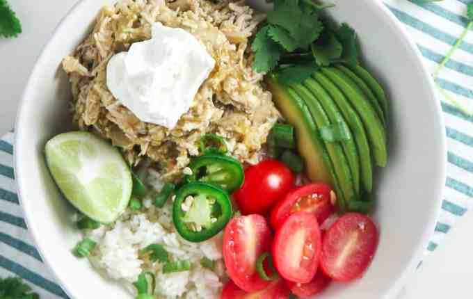 Tomatillo Chicken & Rice Bowls