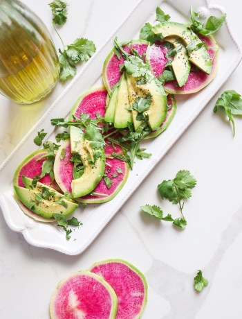 Watermelon Radish and Avocado Carpaccio
