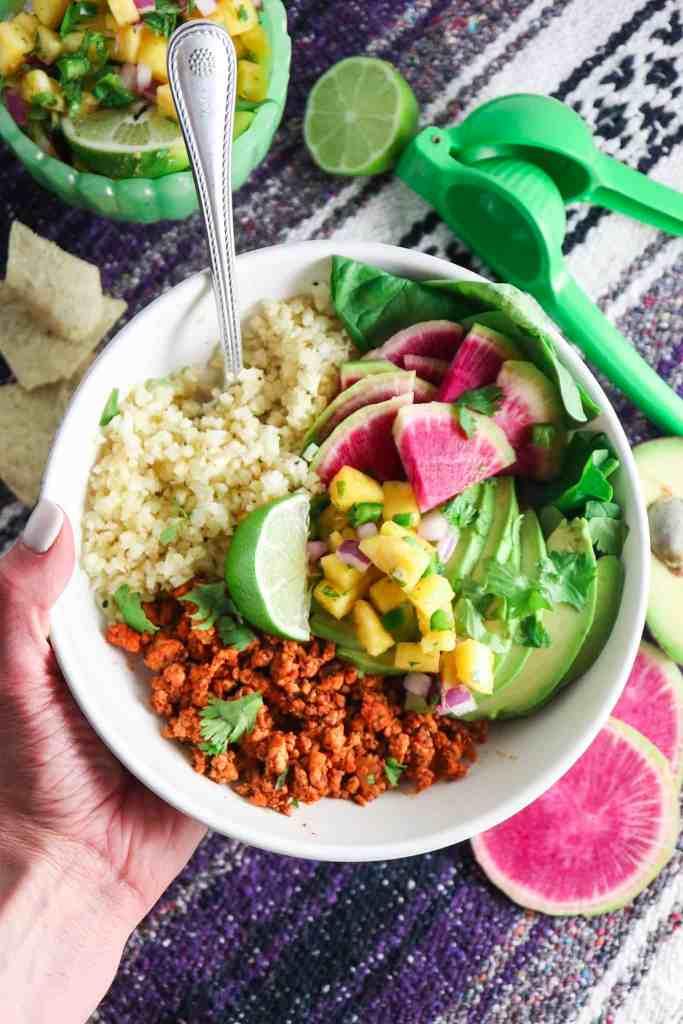 Chipotle Chicken Cauliflower Rice Bowls with Pineapple Salsa
