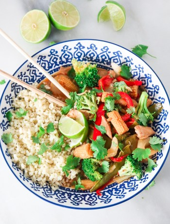 Red Curry Chicken Stir Fry with Cauliflower Rice