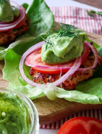 Jalepeno Turkey Burgers with Avocado Dill Sauce