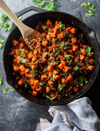 Ground Beef and Sweet Potato Hash