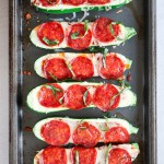 5 ingredient pepperoni pizza zucchini boats