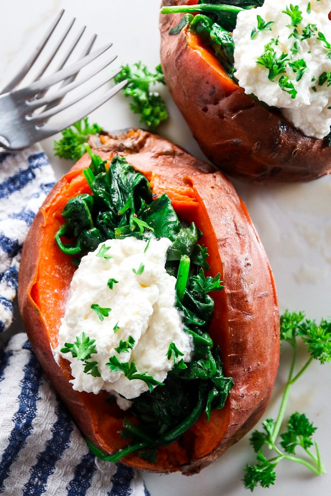 5 Ingredient Sweet Potato with Garlic Spinach and Whipped Ricotta