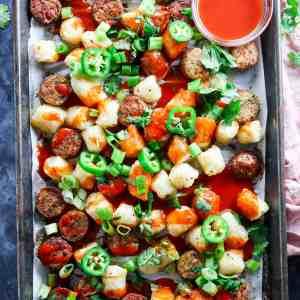 Sheetpan Buffalo Cauliflower Gnocchi & Chicken Sausage (5 ingredients!)