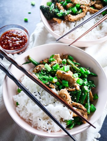 Spicy Almond Butter Chicken with Broccolini