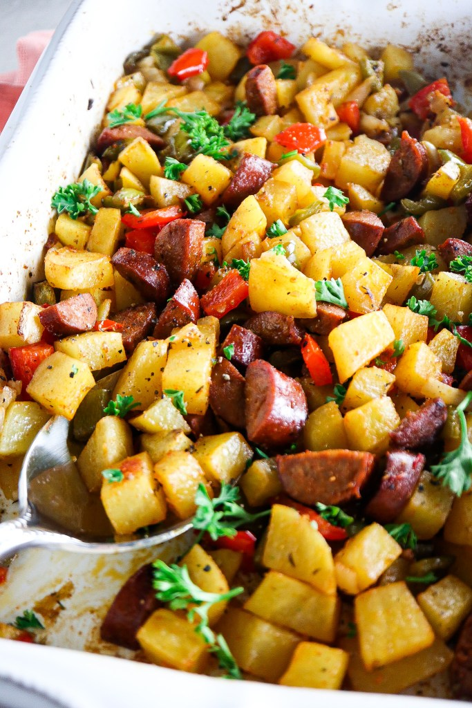Cajun Oven Roasted Chicken Sausage and Potatoes