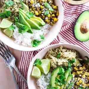 Instant Pot Salsa Verde Chicken Bowls (5 Trader Joe's Ingredients)