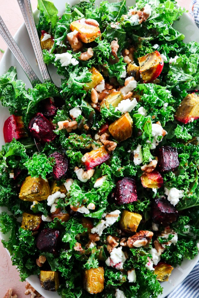 Roasted Beet Kale Salad with Goat Cheese and Walnuts