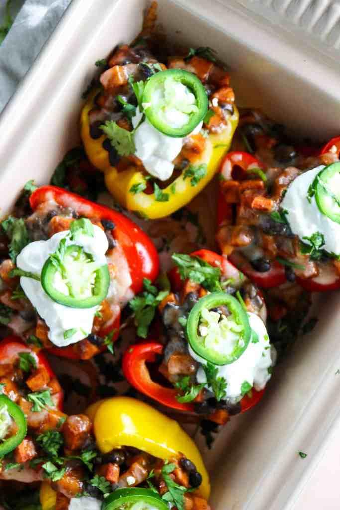 5 Ingredient Sweet Potato Black Bean Stuffed Peppers