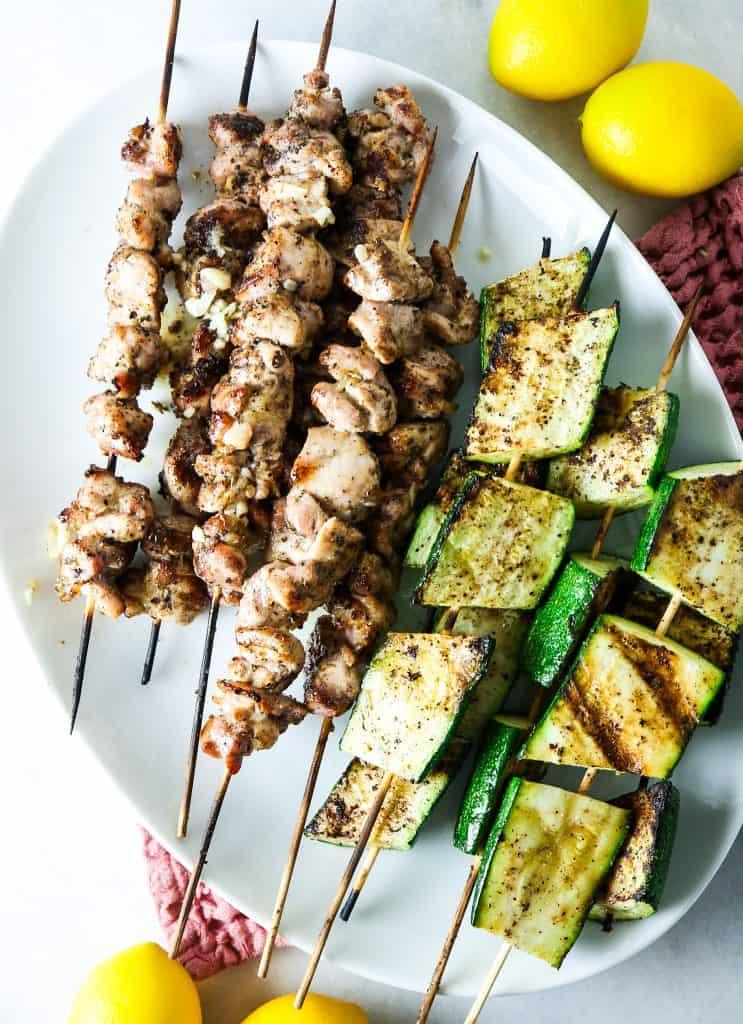 Grilled Lemon Garlic Chicken and Zucchini Kebabs