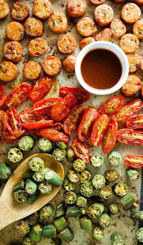 5 Ingredient Chicken Sausage and Okra Sheetpan
