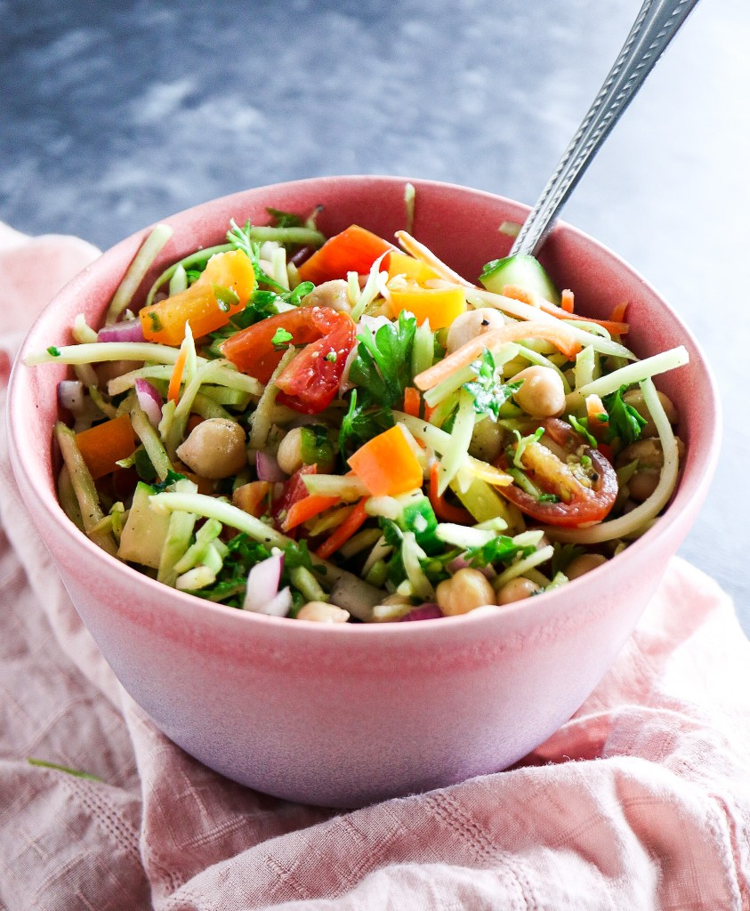Healthy Chickpea & Broccoli Slaw Salad