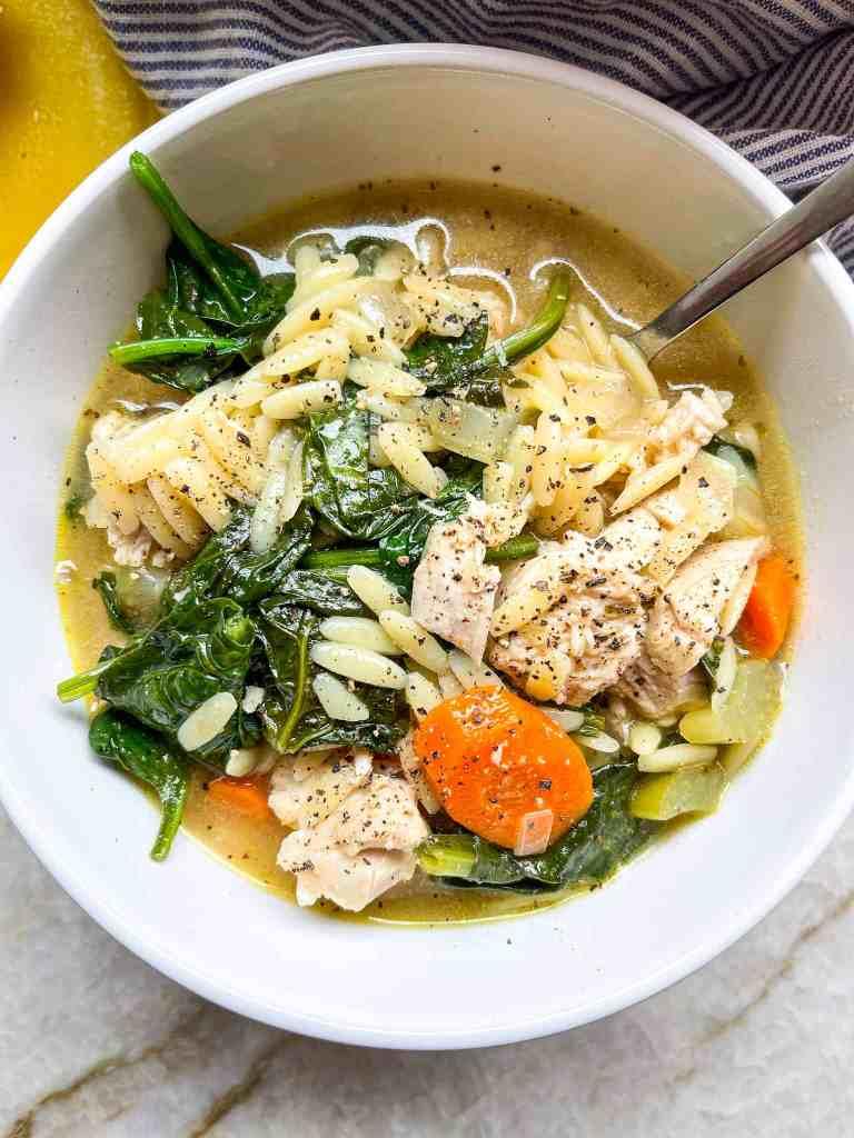 One Pot Lemon Chicken Orzo Soup