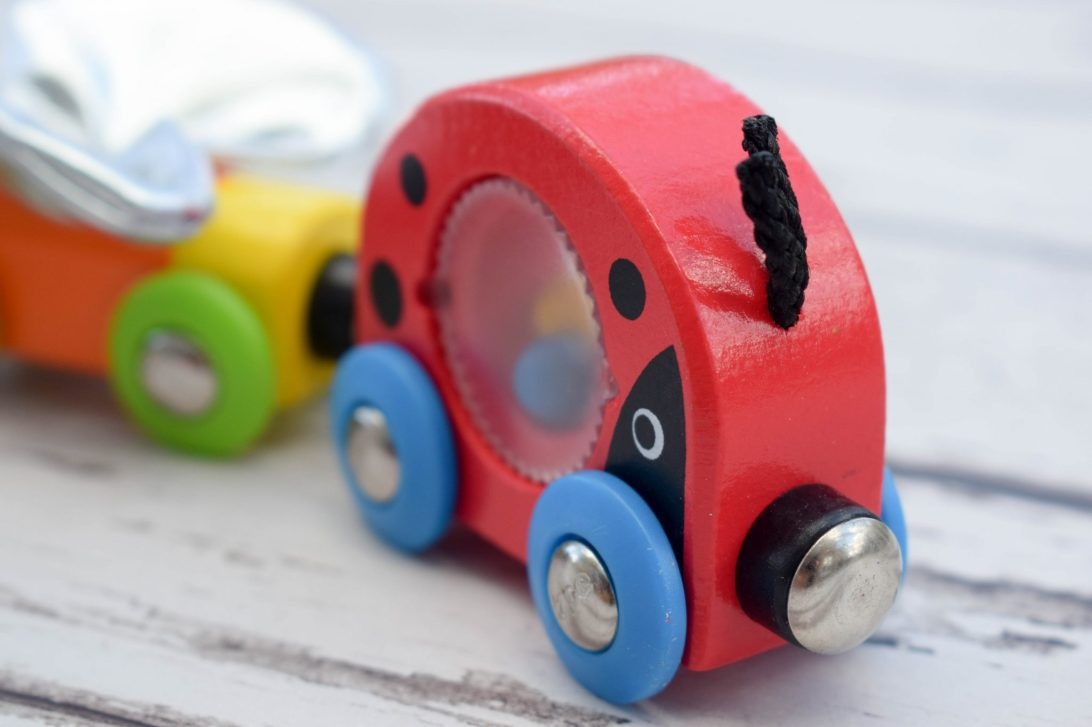 wooden trains up close - ladybug and friends train
