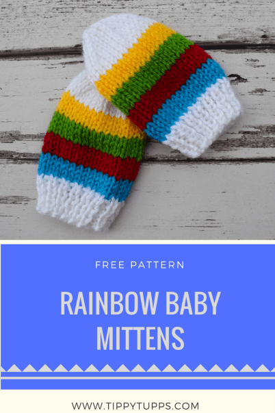 Free Knitting Pattern - Rainbow Stripes - Baby Mittens