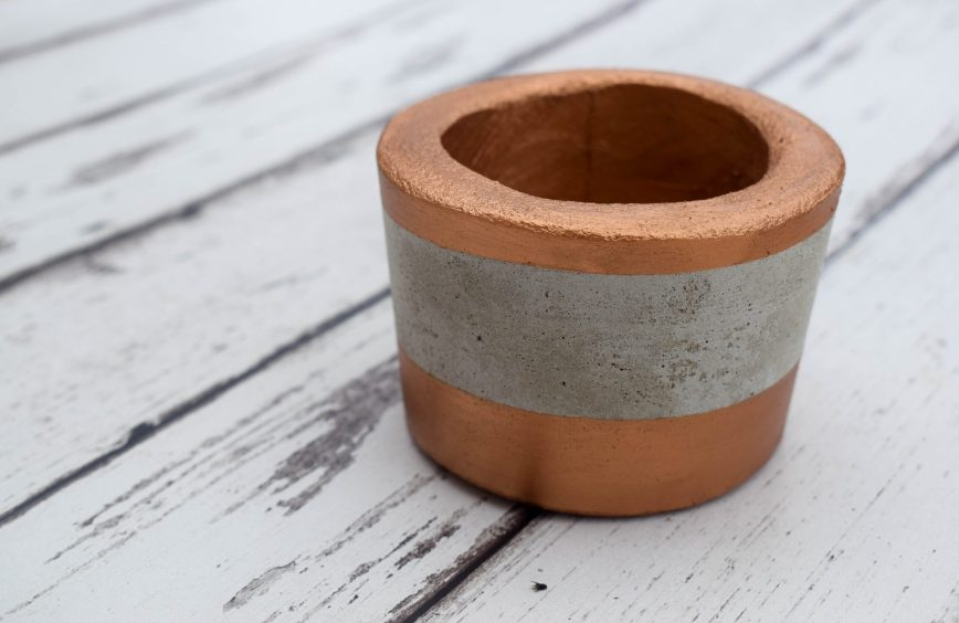 concrete planter kit all bronzed out