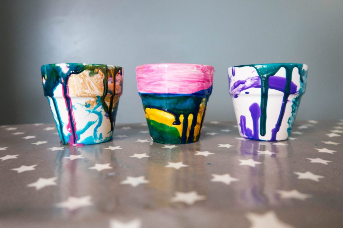 Spring Preparations with Baker Ross - mini flower pots - the end result