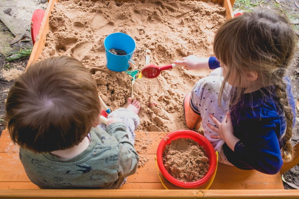 product review - choo choo train sandpit - in play