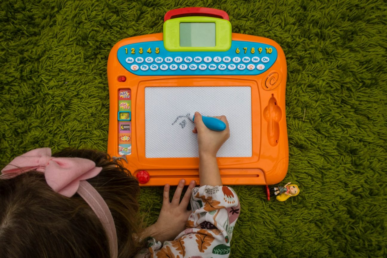 Learning A to Z with the Write 'N Learn Drawing Board- in use